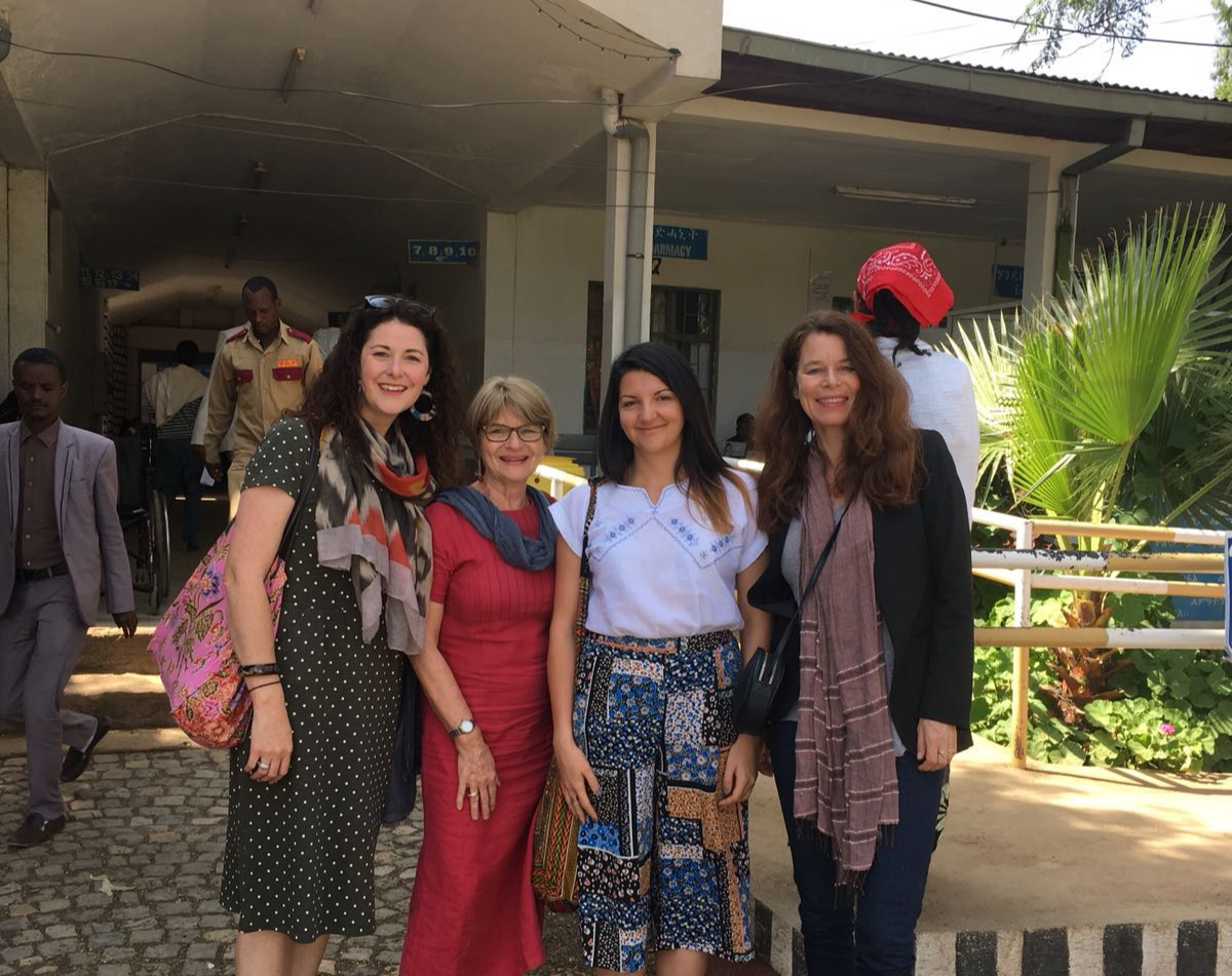 The all-female VL team, Axum Ethiopia 2018 (from the left: Sinead Rowan, Deputy Programme Manager, Stefanie Meredith, Programme Director, Sarah Hanka, Programme Manager, Margriet den Boer, Africa Technical Adviser )