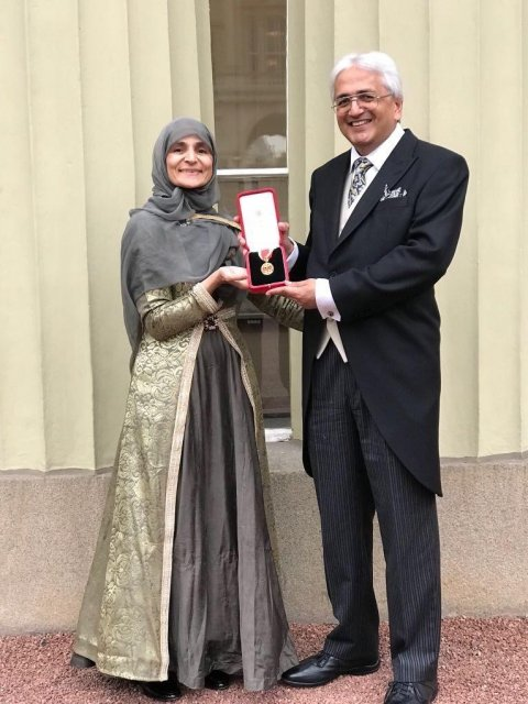 Professor Sir Alimuddin Zumla, with Lady Farzana Zumla when he received the Knighthood at Buckingham  Palace in November 2017