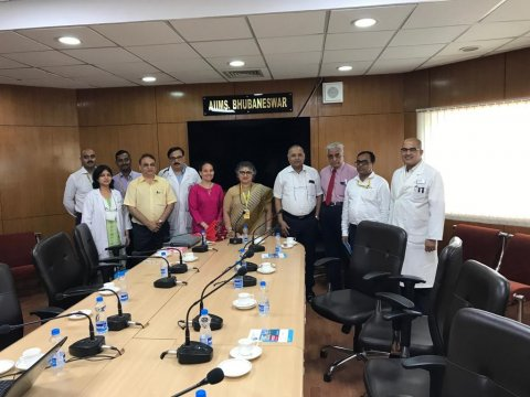 With Dr Gitanjali Batmanabane, Director of AIIMS-Bhubaneswar (centre), members of her senior faculty and Professor Pramod Samantharay (third from right), one of RSTMH's long-standing members