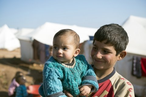 Syrian refugees in a refugee camp