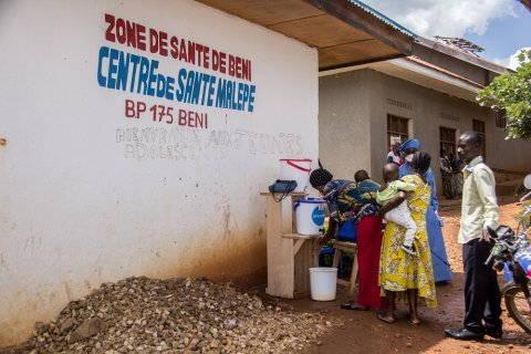 Beni, North Kivu, DR Congo. Mercy Corps supports the Malepe Health Center with handwashing stations, hygiene and water and sanitation support