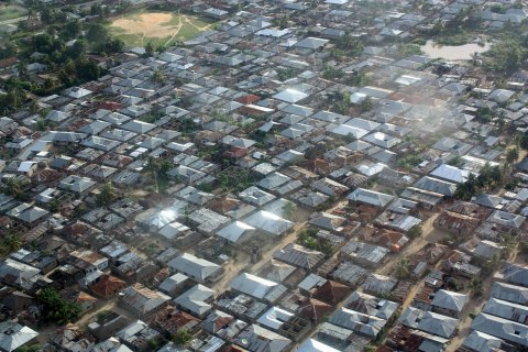 Aerial photo, Stonetown, Zanzibar, Tanzania. Dense urban fabric. Most houses in concrete blocks with metal roofs. © Jakob Knudsen