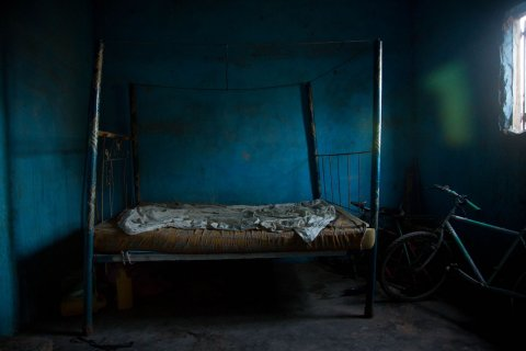 Inside bedroom, The Gambia. A concrete house can be quite uncomfortable like this hot, stuffy room with almost no ventilation. © Konstantin Ikonomidis & Rasmus Bruun