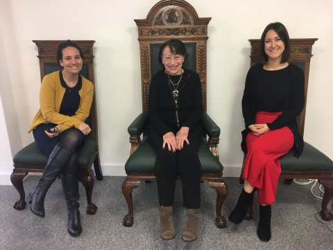 Dr Edith Waldman pictured in the RSTMH office between Tamar Ghosh (left), RSTMH CEO and Claire Coveney (right), RSTMH Membership Manager