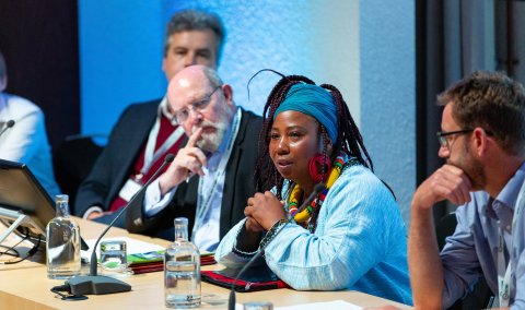 Dorcas Gwata, RSTMH Policy Adviser, on a panel discussion at ECTMIH 2019