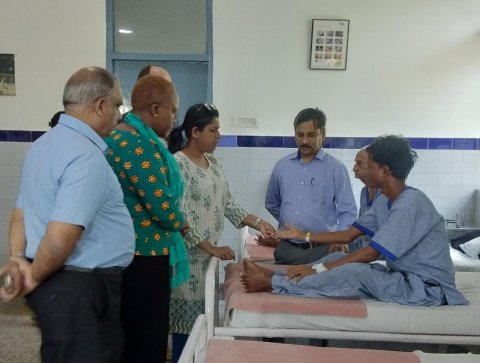 Patient examined at The Leprosy Mission Trust India Hospital in Shahdara, India