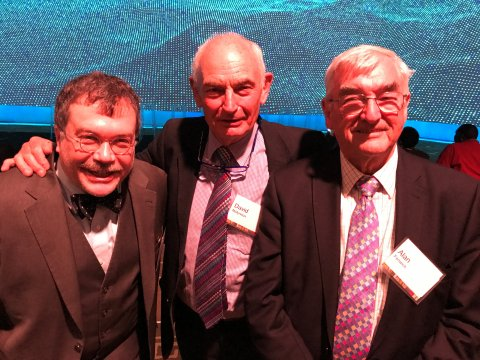 Professor Fenwick with fellow NTD champions, Prof David Molyneux and Pro Peter Hotez.