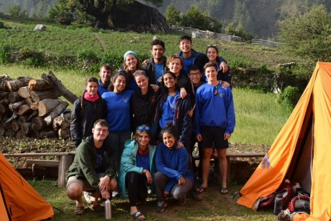 Imperial College London students at camp in Nepal.