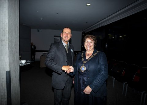 Handing over the presidential reins (and chain) to Professor Sarah Rowland-Jones