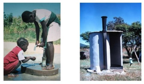 Shallow well hand pump (Blair Pump) for family use, and Ventilated Improved Pit (VIP) latrine – Blair Research Laboratory, Zimbabwe