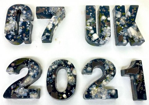 Agar letters spelling out G7 UK 2021 - Photo credit: Ms Ellie Allman and Ms Claudia McKeown